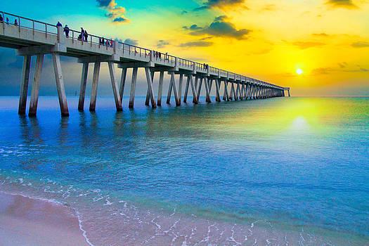 Navarre Fishing Pier Sunset-Yellow Sunrays Sea by Eszra Tanner