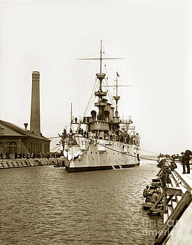 California Views Mr Pat Hathaway Archives - Navy Cruiser USS New York going into dry dock San Francisco circa 1903