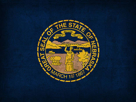 Design Turnpike - Nebraska State Flag Art on Worn Canvas
