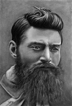 Ned Kelly Portrait drawing by John Harding