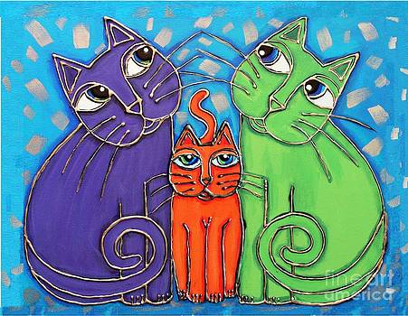 Neon Cat Trio #1 by Cynthia Snyder