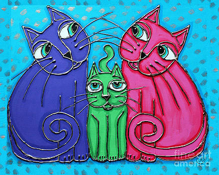 Neon Cat Trio #2 by Cynthia Snyder