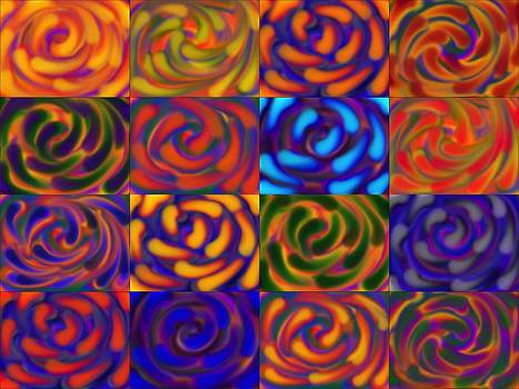 Neon Roses Collage 12 by Jan Edward Vogels