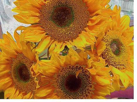 Neon Sunflowers by Annette Allman