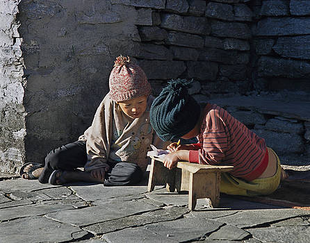 Nepalese boys drawing  by Richard Berry