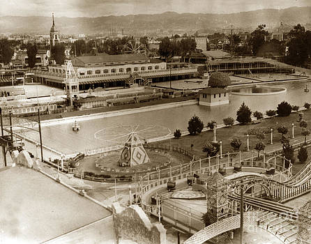 California Views Mr Pat Hathaway Archives - Neptune Beach with a  Olympic-size swimming pool and a roller coaster 1920