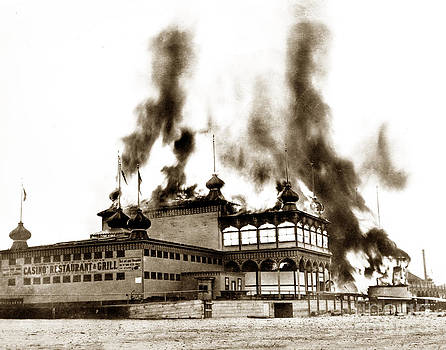 California Views Mr Pat Hathaway Archives - Neptunes Casino on Santa Cruz Beach burning on June 22 1906