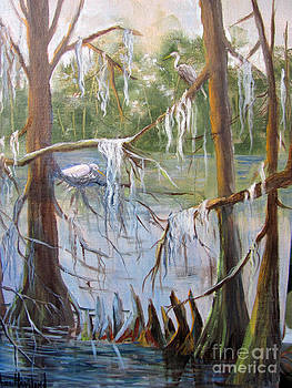 Nesting Egrets at Shangri-La by Barbara Haviland