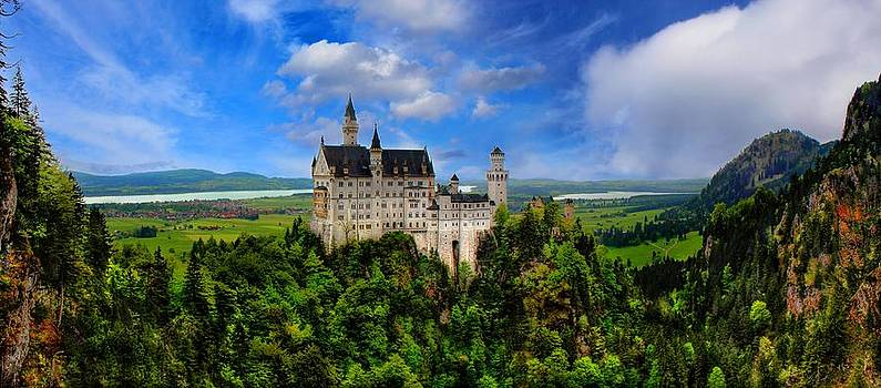 Neuschwanstein Castle Bavaria Germany Panorama by Julia Fine Art And Photography