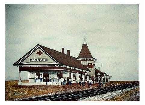 New Boston Train Station 1906 -Acrylic on Canvas Print by Mary S Hines by Mary Sylvia Hines