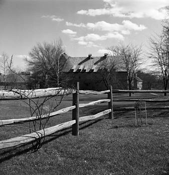 New England Fence and House by Henri Bersoux