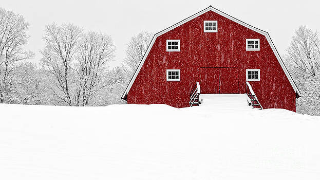 Edward Fielding - New England Red Barn in Winter Snow Storm