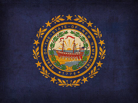 Design Turnpike - New Hampshire State Flag Art on Worn Canvas