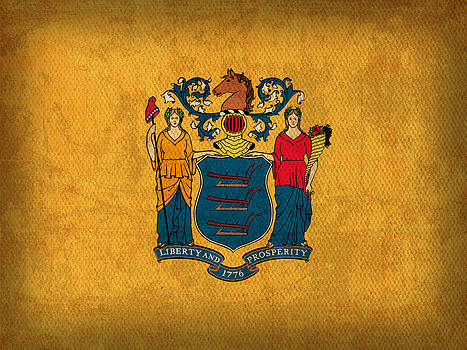 Design Turnpike - New Jersey State Flag Art on Worn Canvas