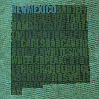 Design Turnpike - New Mexico Word Art State Map on Canvas
