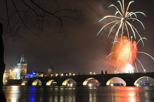 New Year fireworks in Prague Czech Republic by Tomas Mahring