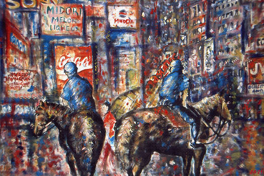 New York Broadway at Night - Oil On Canvas by Art America Gallery Peter Potter