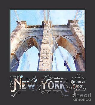 Beverly Claire Kaiya - New York City Brooklyn Bridge Digital Watercolor