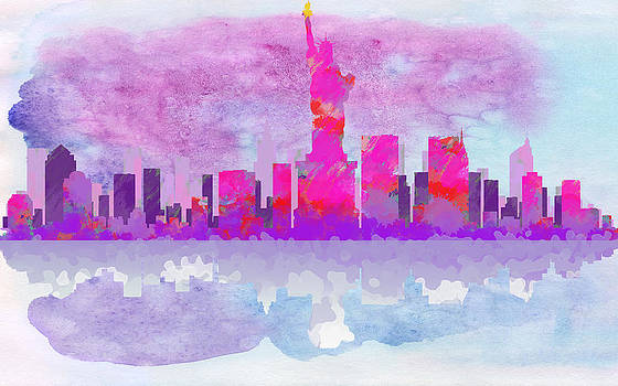 Paulette B Wright - New York City Silhouette - Hot Pink and Purple