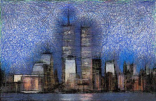 New York City blue and white Skyline by Georgi Dimitrov