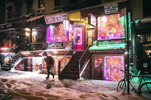 New York City - Snow and Colorful Lights at Night by Vivienne Gucwa