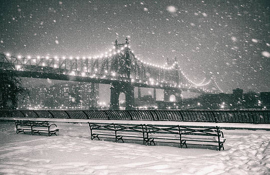 New York City - Snow at Night - Sutton Place by Vivienne Gucwa