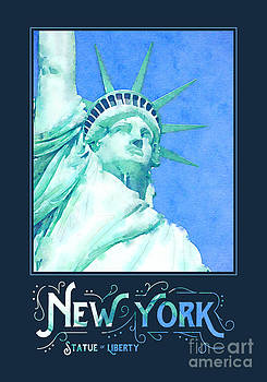 Beverly Claire Kaiya - New York City Statue of Liberty Digital Watercolor 1
