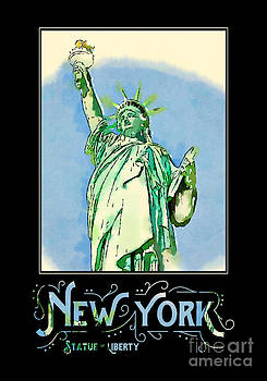 Beverly Claire Kaiya - New York City Statue of Liberty Digital Watercolor 2