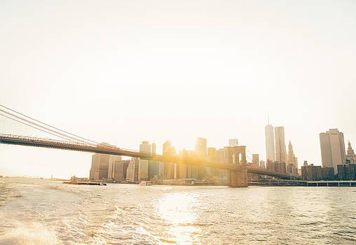 New York City - Sunset over the Brooklyn Bridge by Vivienne Gucwa