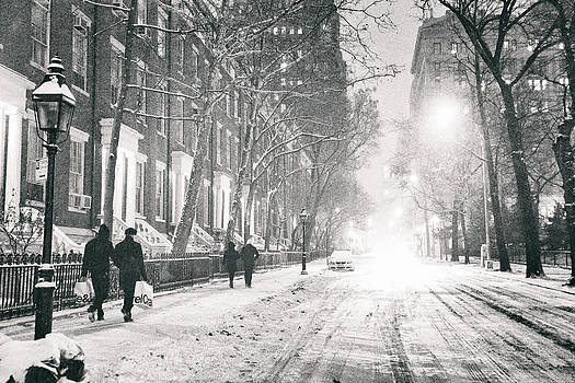 New York City - Winter Night in the Snow at Washington Square  by Vivienne Gucwa