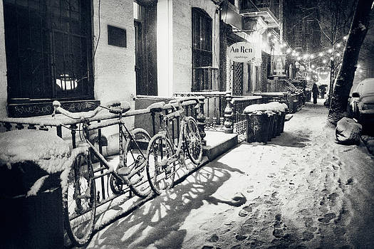 New York City - Winter Night in the Snow - East Village by Vivienne Gucwa
