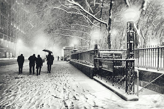 New York City - Winter - Snow at Night by Vivienne Gucwa