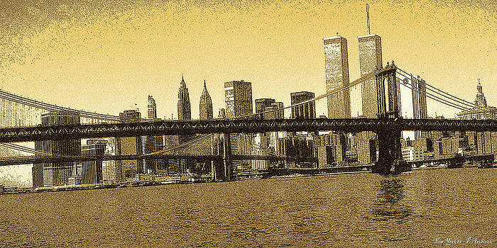 Art America Gallery Peter Potter - New York Downtown Manhattan Skyline - Yellow Panorama