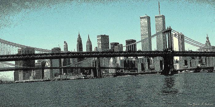 Art America Gallery Peter Potter - New York Downtown Manhattan Skyline - Blue Panorama