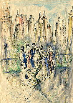 Peter Potter - New York Roof Party - Watercolor Ink