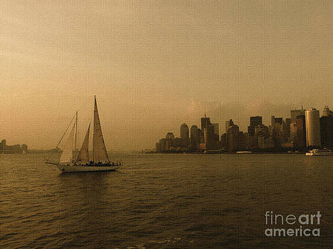 New York Sailing at Sunset by Avis  Noelle