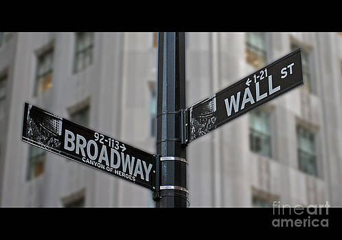New York Sign Broadway Wall Street by Lars Ruecker