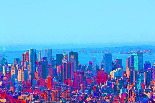New York Skyline Blue by Louise Grant