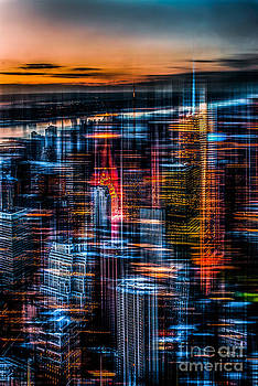 Hannes Cmarits - New York- the night awakes - orange