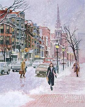 Newbury Street Flurries by Karol Wyckoff