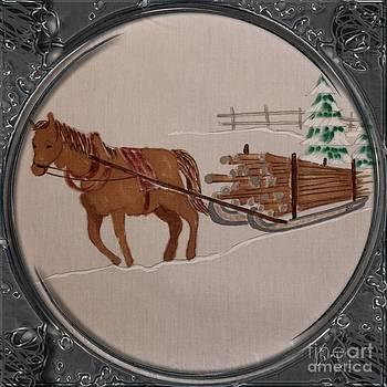 Barbara Griffin - Newfoundland Pony Hauling Wood - Porthole  Vignette