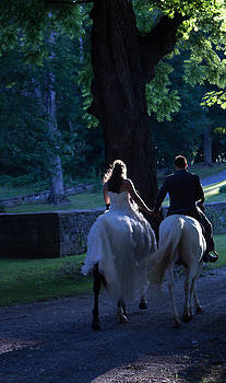 Patti Colston - Newlyweds ride Horseback into the Sunset