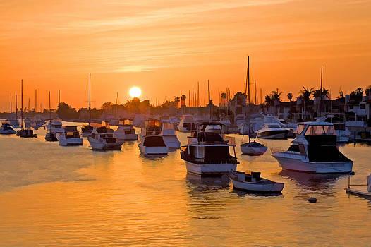 Cliff Wassmann - Newport Beach Harbor at sunset