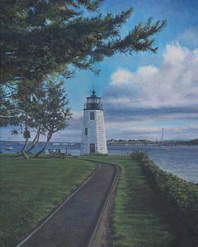 Newport Harbor Light on Goat Island by David P Zippi