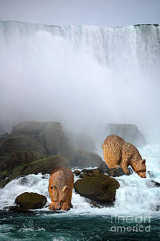 Linda Rae Cuthbertson - Niagara Falls with Two Bears Whimsical