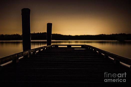 Night at the lake by Michael Cross