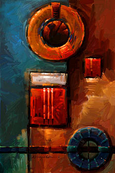 Kanayo Ede - Night Engine - Abstract Red Gold and Blue print