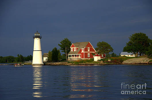 Night Fall at Rock Island Lighthouse 1000 Islands Thousand Islands by Linda Rae Cuthbertson
