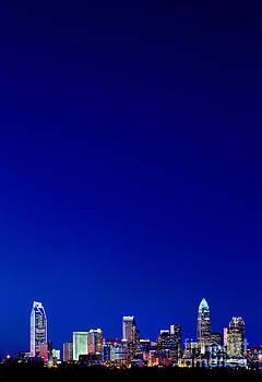Night skyline of Charlotte NC verticle by Patrick Schneider
