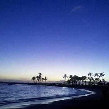 Night View Of Waikiki Beach by Ashley Flowers
